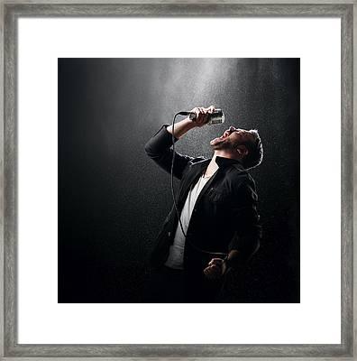 Male Singer Performing Framed Print by Johan Swanepoel