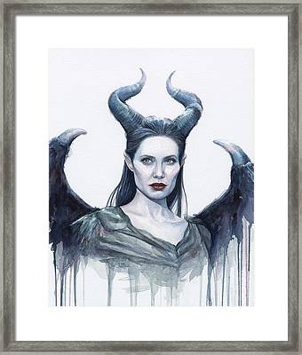 Maleficent Watercolor Portrait Framed Print by Olga Shvartsur