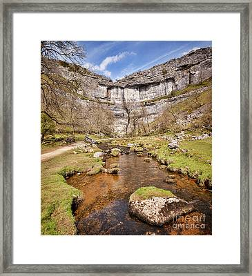 Malham Cove And Malham Beck, Yorkshire Dales National Park Framed Print by Colin and Linda McKie