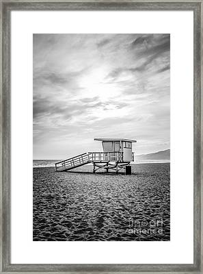 Malibu Lifeguard Tower #2 Black And White Photo Framed Print by Paul Velgos