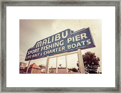 Malibu Sign Sport Fishing Pier Picture Framed Print by Paul Velgos