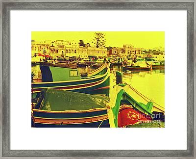 Maltese Fishing Village Framed Print by Elizabeth Hoskinson