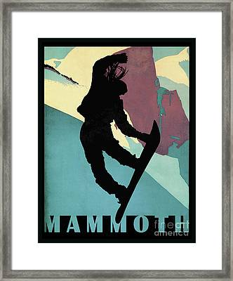 Mammoth Mountain, Snowboarding Betty Framed Print by Tina Lavoie