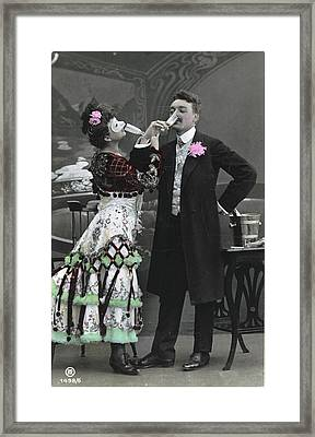 Man And Woman In Vintage Party Clothes Framed Print by Gillham Studios