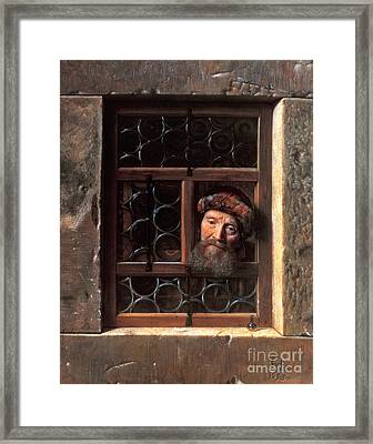 Man At A Window Framed Print by Samuel van Hoogstraten