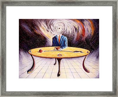 Man Attempting To Comprehend His Place In The Universe Framed Print by Darwin Leon