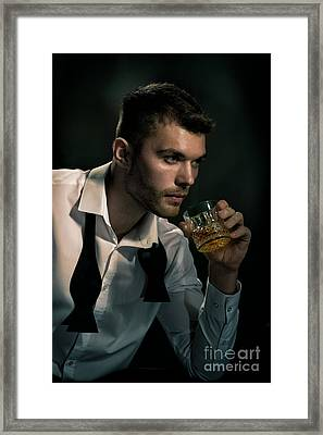 Man Drinking Whiskey Framed Print by Amanda And Christopher Elwell