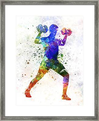Man Exercising Weight Training Framed Print by Pablo Romero