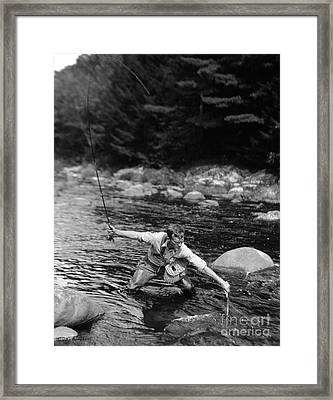 Man Fishing In Stream Framed Print by H. Armstrong Roberts/ClassicStock