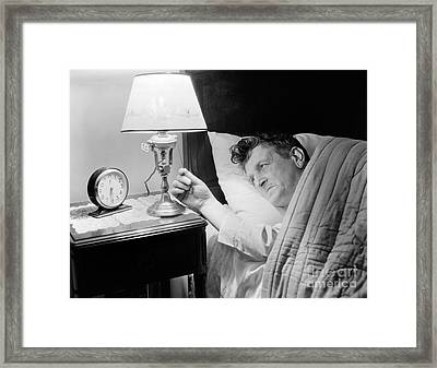 Man In Bed Framed Print by H. Armstrong Roberts/ClassicStock