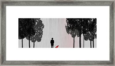 Man In Rain Framed Print by Jim Kuhlmann
