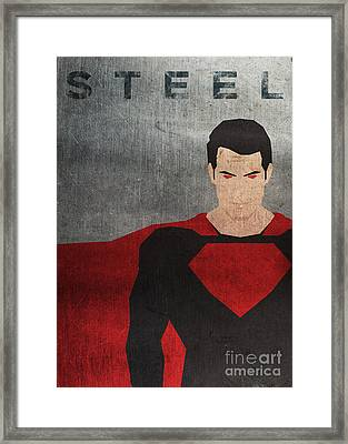 Man Of Steel Minimal Poster Framed Print by Chris Trudeau