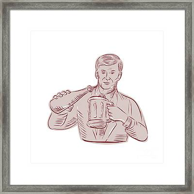 Man Pouring Beer Mug Etching Framed Print by Aloysius Patrimonio