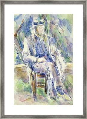 Man Wearing A Straw Hat Framed Print by Paul Cezanne