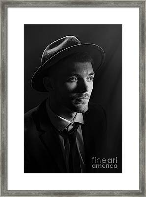 Man Wearing Trilby Framed Print by Amanda And Christopher Elwell