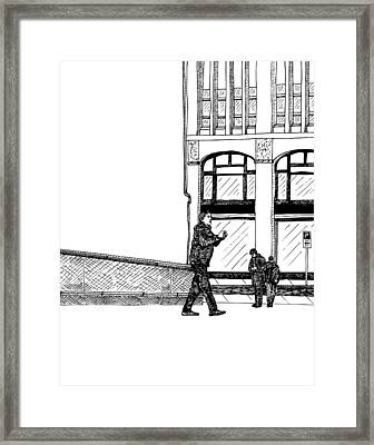 Man With Camera Framed Print by Karl Addison