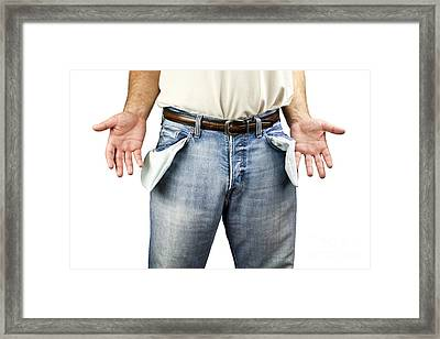 Man With Empty Pockets Framed Print by Blink Images
