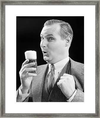 Man With Glass Of Beer, C.1930s Framed Print by H. Armstrong Roberts/ClassicStock