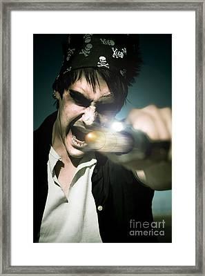 Man With Gun Framed Print by Jorgo Photography - Wall Art Gallery