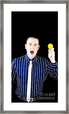 Man With Open Mouth Holding Yellow Bulb Framed Print by Jorgo Photography - Wall Art Gallery
