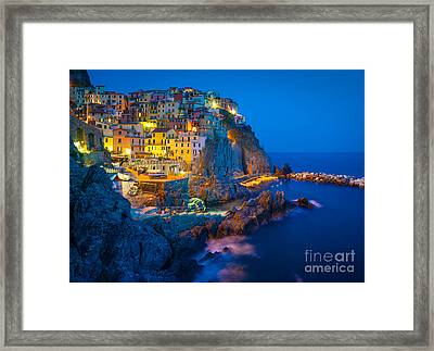 Manarola By Night Framed Print by Inge Johnsson