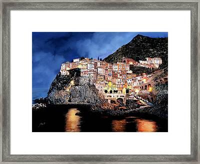 Manarola Di Notte Framed Print by Guido Borelli