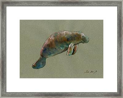 Manatee Watercolor Art Framed Print by Juan  Bosco
