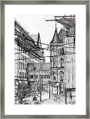 Manchester Town Hall From City Art Gallery Framed Print by Vincent Alexander Booth