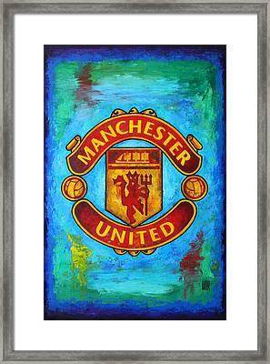 Manchester United Vintage Framed Print by Dan Haraga