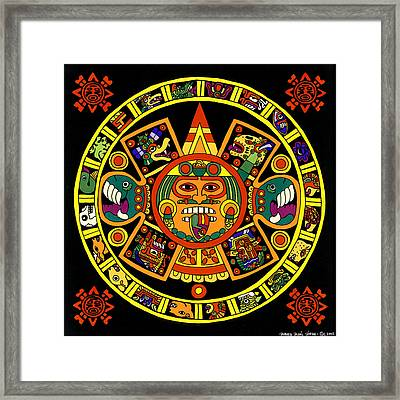 Mandala Azteca Framed Print by Roberto Valdes Sanchez