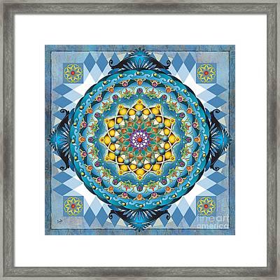Mandala Blue Crown Framed Print by Bedros Awak