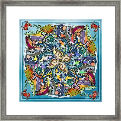 Mandala Fish Pool Framed Print by Bedros Awak