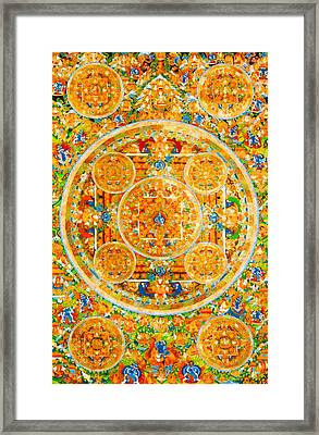 Mandala Of Heruka In Yab Yum And Buddhas 1 Framed Print by Lanjee Chee