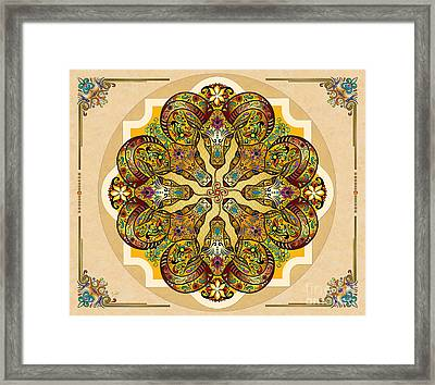 Mandala Sacred Rams - Bright Version Sp Framed Print by Bedros Awak
