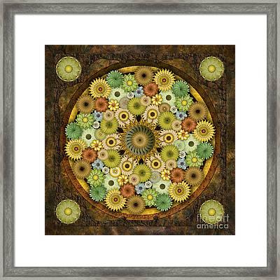 Mandala Stone Flowers Framed Print by Bedros Awak