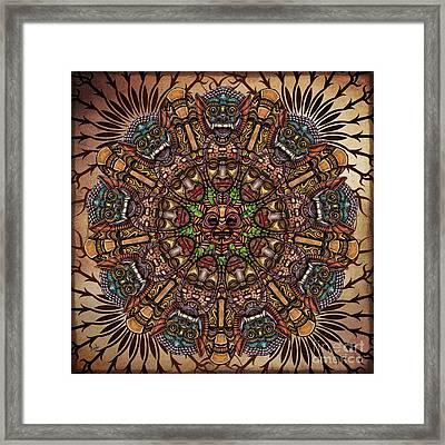 Mandala Tribal Masks Framed Print by Bedros Awak
