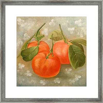 Mandarins Framed Print by Angeles M Pomata