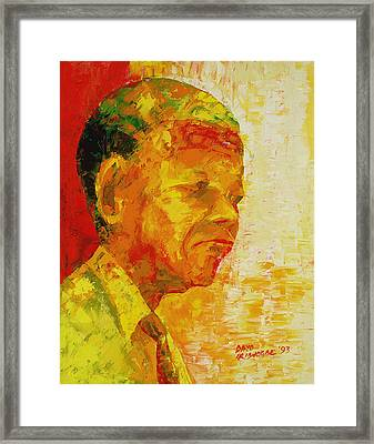 Mandela Framed Print by Bayo Iribhogbe