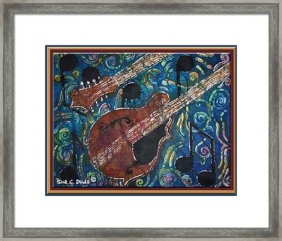 Mandolin - Bordered Framed Print by Sue Duda