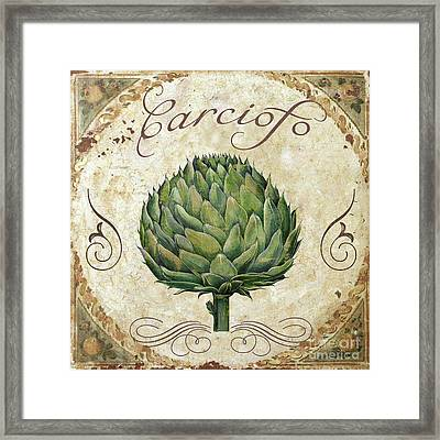 Mangia Artichoke Framed Print by Mindy Sommers