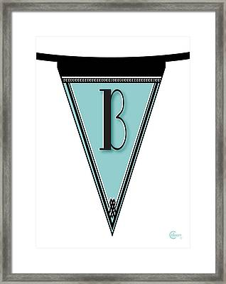 Pennant Deco Blues Banner Initial Letter B Framed Print by Cecely Bloom