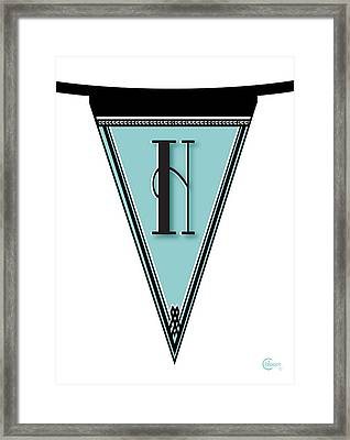 Pennant Deco Blues Banner Initial Letter H Framed Print by Cecely Bloom
