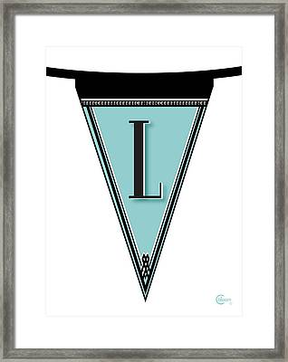 Pennant Deco Blues Banner Initial Letter L Framed Print by Cecely Bloom