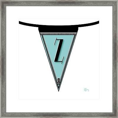 Pennant Deco Blues Banner Initial Letter Z Banner Monogrammed Alphabet Letter Initial Z Framed Print by Cecely Bloom