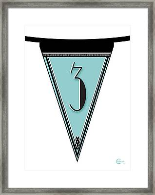 Pennant Deco Blues Banner Number 3 Framed Print by Cecely Bloom