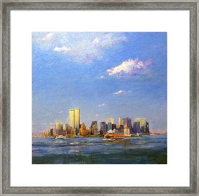 Manhattan And Twin Towers From New York Harbor Framed Print by Peter Salwen