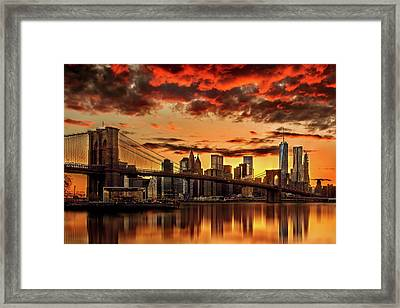 Manhattan Bbq Framed Print by Az Jackson