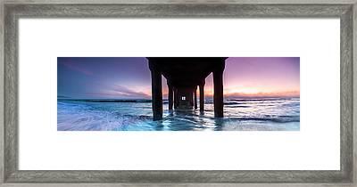 Manhattan Beach Pier Pastels Framed Print by Sean Davey