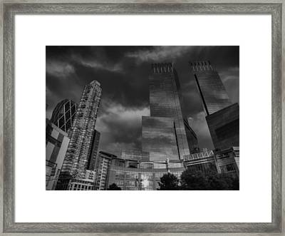 Manhattan - Columbus Circle 001 Bw Framed Print by Lance Vaughn
