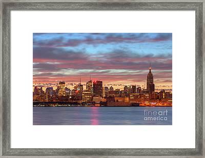 Manhattan Dawn Skyline I Framed Print by Clarence Holmes